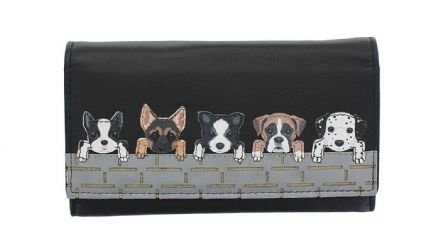 Leather Dogs on Wall Black Flap Over Purse